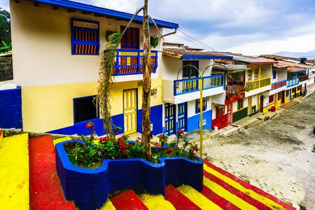 View on Jerico, Colombia, Antioquia, streets of the colonial city, located in the southwest of Antioquia, Colombia