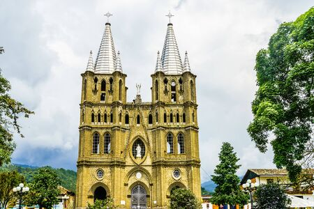 View on church and main square in colonial city El Jardin, Colombia, South America 版權商用圖片