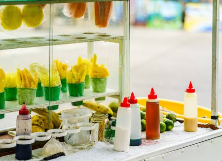 Street food shop selling fruits in Colombia