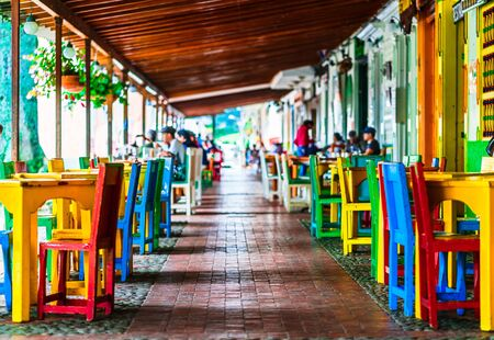 Colorful chairs and tables from colonial buildings in the village Jerico in Colombia
