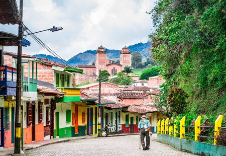 View on old man in the streets of colonial village in the center of Jerico, Colombia
