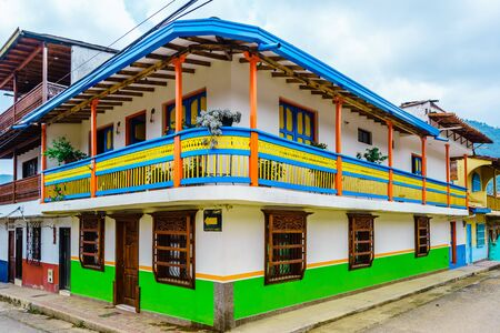 Colorful Houses In Colonial City Jardin, Antoquia, Colombia, South America Stock Photo