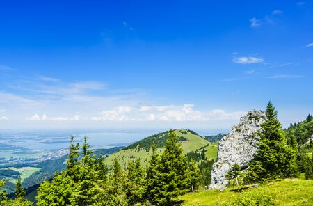 View on the Lake Chiemsee in Bavaria in summer from the Kampenwand Massive 免版税图像