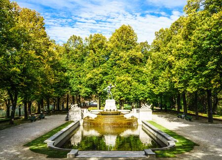 View on histroical Vater Rhein fountain in Munich, Germany