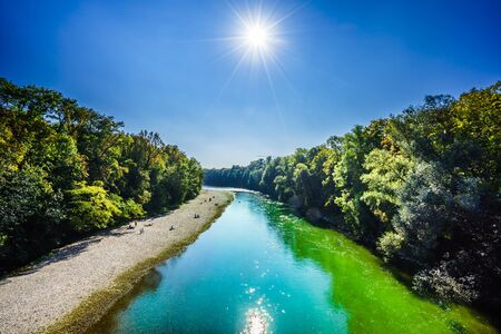 View on Turquoise isar river in Munich, Germany