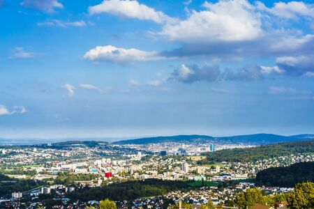 Aerial view on cityscape of Zurich from Bergdietikon