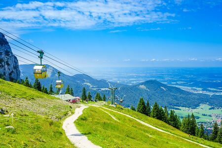 View on yellow cable car at Kampenwand in Bavaria, Germany
