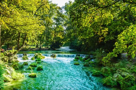 View of the river - Eisbach - of Munich in Bavaria
