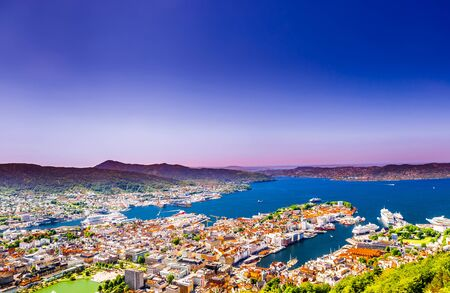 Panoramic view over cityscape of bryggen - Norway 免版税图像