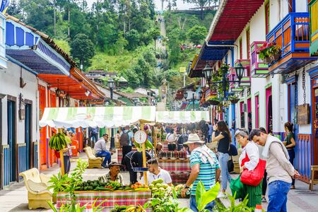 Local market with sellers in the streets of the village Salento, on March 23, 2019 - Colombia