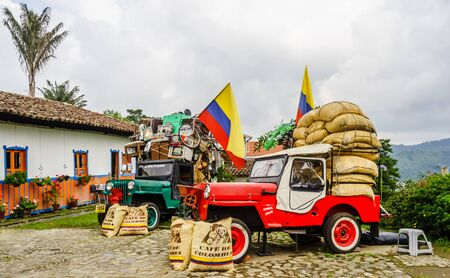 Willy jeeps in the village of Salneto next to the valley of Salento in Colombia on 21th March 2019 新闻类图片