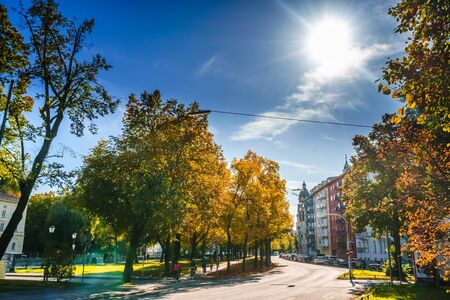 Viewn on autumn lanscape in the streets of Munich, Germany