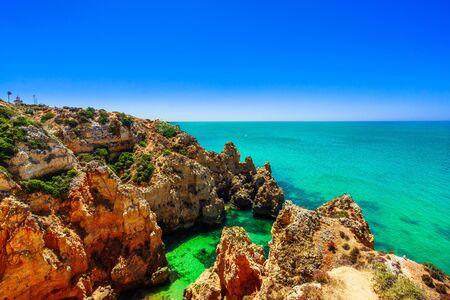 Farol da Ponta da Piedade - beautiful coast of Portugal, Algarve 免版税图像