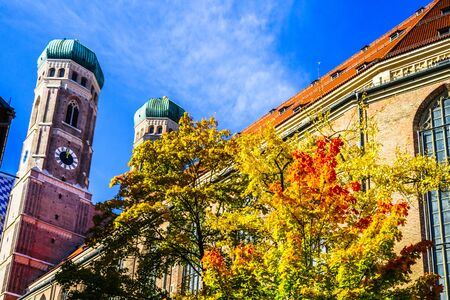 Towers of the Church of Our Lady in autumn, Munich