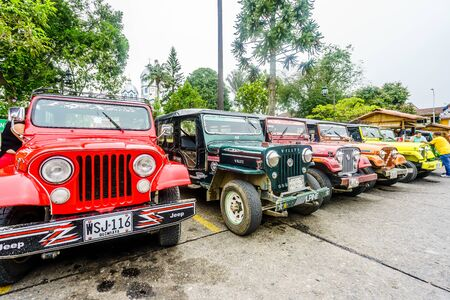 Willy jeeps in the village of Finlandia next to the valley of Salento in Colombia on 23th March 2019
