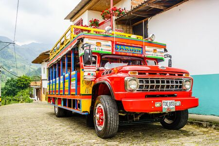 Jardin, COLOMBIA - 27th March 2019. Colorful traditional rural bus in Colombia called chiva 新闻类图片