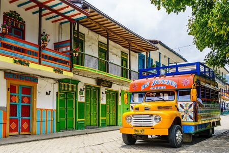 View on typical colorful chicken bus in Jardin, Antioquia, Colombia, South America on 27th March 2019 新闻类图片