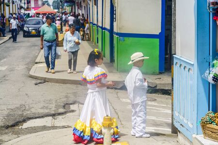 Children dressed with traditional colombian costumes on 23th March 2019 in Salento, Colombia