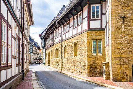Timbered houses and cobbled street in the historic old town of Goslar, Germany