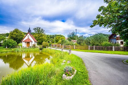 View on Allersdorf, a small village next to Goessweinstein, Frankonia Germany 免版税图像