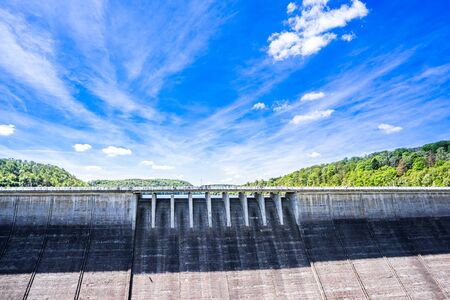 View on Rappbode dam and reservoir in Harz mountain, Germany