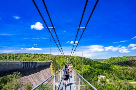 View on suspension bridge in Harz Mountains National Park, Germany 免版税图像