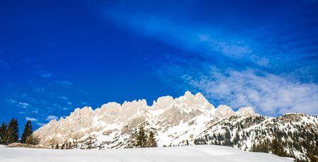 View on winter landscape at Hintersteiner Lake in Tyrol, Austria
