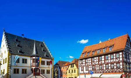 View on Market Square of small town Volkach in lower Frankonia, Germany