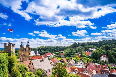 Panoramic view of the City Goessweinstein in the Franconia Switzerland, Germany, Bavaria