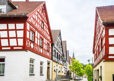 View on historic buildings in Pottenstein, Franconia Swiss Germany 免版税图像 - 142126097