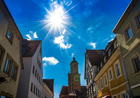 Market Square of small town Volkach in lower Frankonia, Germany 免版税图像