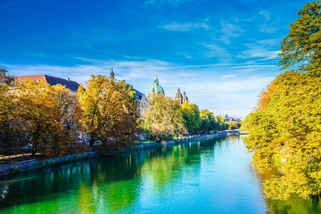 Beautiful natural landcape of Isar river in Munich, Germany