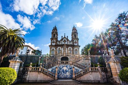 Panorama of Sanctuary of Our Lady of Remedios in Lamego 免版税图像 - 142126127