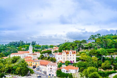 Sintra city with National Palace in the background, Portugal.