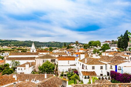 Obidos city colorful roof tops, Portugal 免版税图像