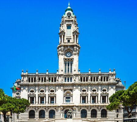 Porto City Hall on Liberdade Square, Porto 免版税图像