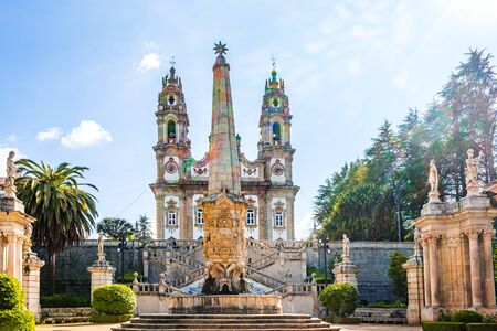 Panorama of Sanctuary of Our Lady of Remedios in Lamego 免版税图像 - 142126358