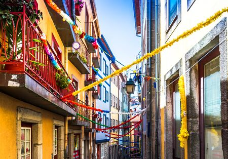 Colorful historic buildings in the old town of Porto, Portugal