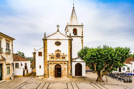 Santa Maria Church in Obidos, Portugal 免版税图像