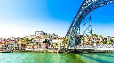 Maria Pia bridge over the Douro River, at Porto, Portugal 免版税图像
