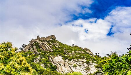 Castle of moors on top of a hill in Sintra, Portugal