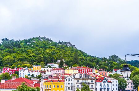 Colorful historic buildings in heritage of Sintra, Portugal