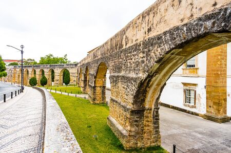View on Roman aqueduct in Coimbra, Portugal