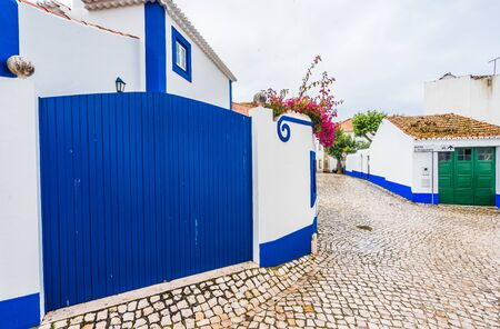 View in the streets of Ericeira, traditional white houses with blue stripes, Portugal 免版税图像