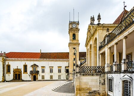 View on old buildings of the University of Coimbra, Portugal 免版税图像 - 142709842