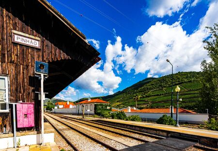 View on Pinhao train station in douro valley, Portugal 免版税图像