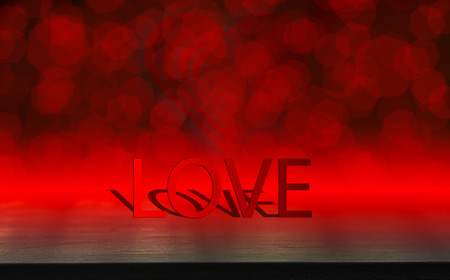 Text love concept, black wood table, Valentines day, and love red shape heart with bokeh background, empty for text and placing products with copy space.
