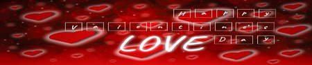 Text in white square blocks,dark wood table,Valentines day concept,and love red shape heart with bokeh background, banner horizontal for web,empty for text and placing products with copy space.