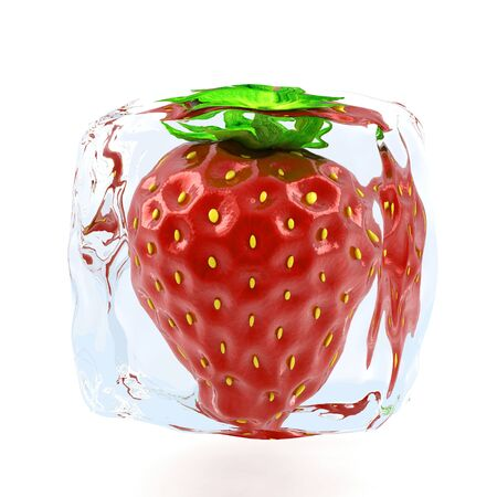 Strawberry frozen in ice cube  Banco de Imagens