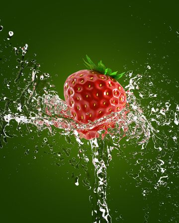 fresh strawberries in a spray of water Stock Photo - 7124758